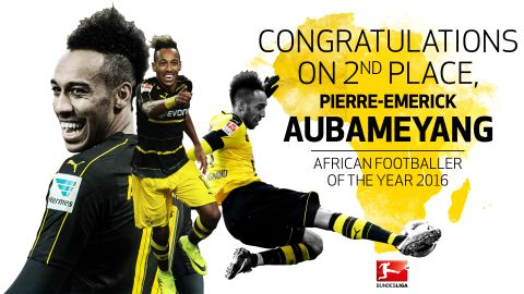 Aubameyang second in African POTY vote