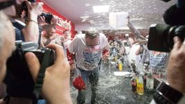Watch: Cologne players give coach a beer shower