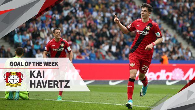 Watch leverkusen 39 s havertz wins md34 goal of the week - German league fixtures results table ...