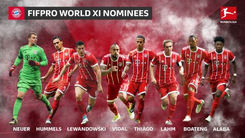 Eight Bayern stars on FIFPro World 11 shortlist