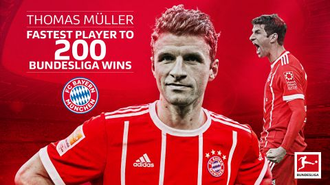 Müller fastest ever to reach 200 Bundesliga wins