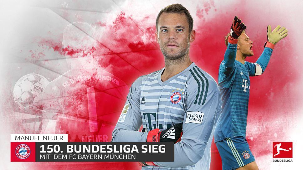 Bundesliga Manuel Neuer Mit Bundesliga Rekord Schnellster Bayern Spieler Mit 150 Siegen